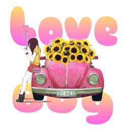 freetoedit love lovebug sunflowers girl