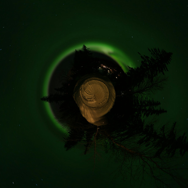 Northern lights in Vemdalen, Sweden in February 2016 #tinyplanet #playwitheffects #funwithpicsart