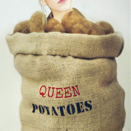 freetoedit girl queen potatoes sack